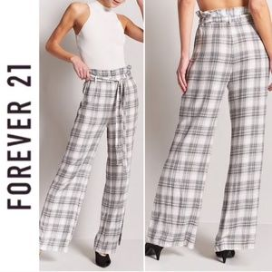 High paper bag flannel palazzo wide leg flare pant
